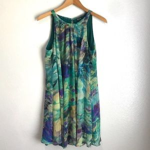 Gabby Skye Sheer Green Overlay Sleeveless Dress
